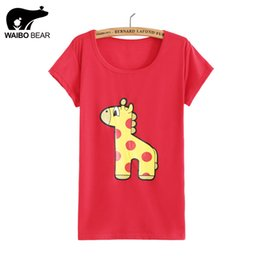 Bande Dessinée Drôle De Girafe Pas Cher-Femmes 2016 Motif Cartoon Fashion Giraffe Imprimer Harajuku Graphic Tees drôle Tops Kawaii de base Casual T-shirts WAIBO BEAR