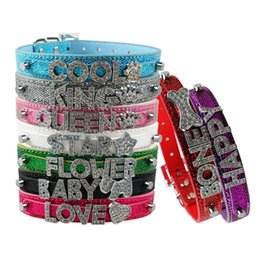 $enCountryForm.capitalKeyWord UK - Bling Shinning Customized Personalized Name PU Leather Puppy Dog Cat Collars Rhinestone Buckles for 10mm Letters and Charms