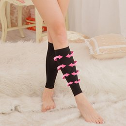 calf shaper Canada - Wholesale-1 Pair Compession Fat Burning Socks Thin Calf Support Compression Varicose Veins Footless Socks Slimming Body Shaper