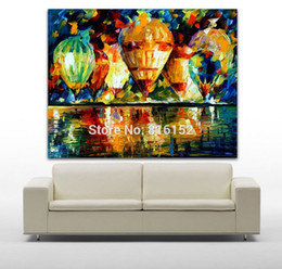 street art canvas prints NZ - Palette Knife Oil Painting Balloon Show And Night Town Street Picture Printed on Canvas Mural Art for Home Living Room Wall Decor