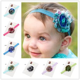 Barato Peacock Headband Flower Girl-30pcs Baby Girls Flores Headbands Crianças Cabelo Bow Headband Peacock Shabby headbands de flores Photo Prop Baptism headbands Gift