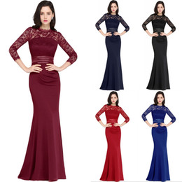 Wholesale Designed Mermaid Long Sleeves Burgundy Evening Dresses 2019 Satin Lace Jewel Neck Zipper Back Floor Length Vestidos Mother Dresses CPS613