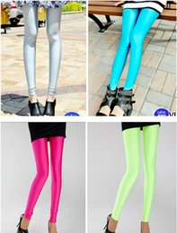 Pantalons De Danse Pour Femmes Pas Cher-Sexy Solid Candy Neon Taille Plus Leggings High Jeggings Sports Stretched Fitness Vêtements Ballet Dancing Pant