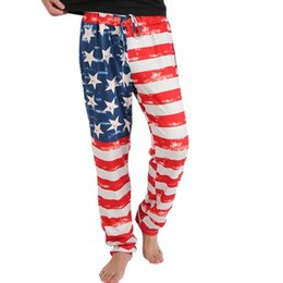 China Wholesale- Woweile #3001 2017 New Brand Fashion Men's American Flag Printed Drawstring Pants Leggings cheap wholesale patterned leggings suppliers