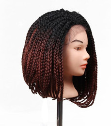 China Ombre Synthetic Braid Wig Lace Front Box Braided Wigs For Black Women African American Straight Braiding Free Shipping suppliers