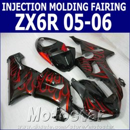 Red Black Kawasaki Zx6r NZ - Injection molding ABS fairing kit for Kawasaki Ninja ZX-6R 2005 2006 ZX6R 636 05 06 red flames in black bodywork fairings set XV39