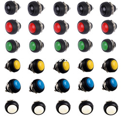 Waterproof momentary push button sWitch online shopping - 100 Brand NEW Black Red Green Yellow White Blue12mm Waterproof Momentary Push button Switch Sales