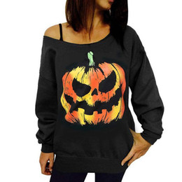 $enCountryForm.capitalKeyWord UK - New Faddish Western Upper Outer Garment For Halloween With Pumpkin Prints Women clothes Slash Collar Casual Hoodies