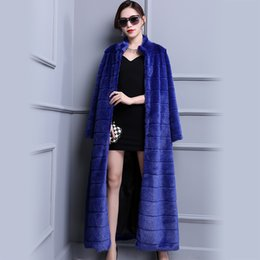 Barato Vendas De Vison-Hot sale Mulheres de alta qualidade Fashion 2017 Runway Extra Long Faux Fur Coat Blue Luxo Fake Mink Fur Overcoat Plus Size 5xl 6xl