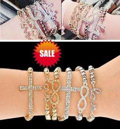 elastic beaded bracelets wholesale 2019 - Elastic LOVE cross beaded diamond bracelet newest women alloy beads charm bracelets wristband rope bangle cuff jewelry g