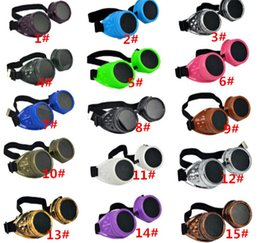 China 30pcs hot sale Vintage Punk Gothic Sunglasses Steampunk Goggles Glasses Welding Cyber Travelling Retro for man women D404 cheap wholesale steampunk goggle glasses suppliers