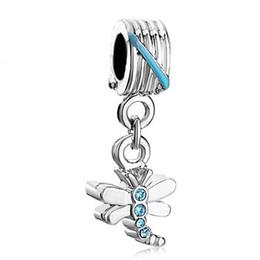 Dragonfly Pendant Charm Bracelet Canada - Shenzhen factory dragonfly with blue crystal pendant dangle metal slide bead European spacer charm fit Pandora Chamilia Biagi charm bracelet