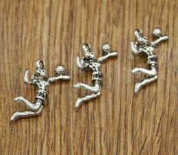Alloy Jacket Canada - Volleyball Charms Sports Water Polo Player Charm Antique Silver Tone 3D 28*20*6mm charm peace polo jacket for men