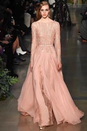 elie saab nude chiffon 2018 - 2016 Elie Saab New Sheer long Sleeves Evening Dresses Lace Beaded Top Chiffon Split Floor Length Formal Prom Dresses che