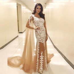 evening gowns lace shawls NZ - Glamorous Champagne Evening Dresses with Shawl See Through V-Neck Lace Appliques Tulle Prom Dress Sexy Mermaid Long Evening Party Gowns
