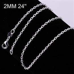 2mm Diamonds Canada - Women's 2mm Square chains 16'' 18'' 20'' 22'' 24'' Short Long Fit Charms necklaces 925 sterling silver c012 gift