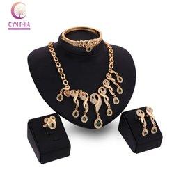 Accessori moda Wedding African Beads Emerald costume 18k oro placcato cristallo collana Bangle orecchino anello gioielli Set