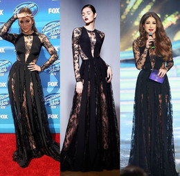 Discount line gold lace tulle zuhair murad - Zuhair Murad Dresses 2016 Black Illusion Long Sleeves Evening Dresses Sheer Lace Evening Gowns Formal Red Carpet Celebri