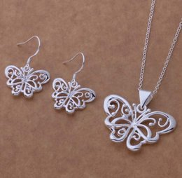 silver butterfly necklace earring set UK - Fashion charm pendant Hollow out a butterfly 925 silver Earring necklace jewelry sets 10set lot