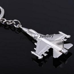 Fan Planes NZ - Metal F16 Fighter Plane model Keychain Zinc Alloy key chain Cool Battleplane Keyring For Military Fan 20pcs Casual Sporty keychain