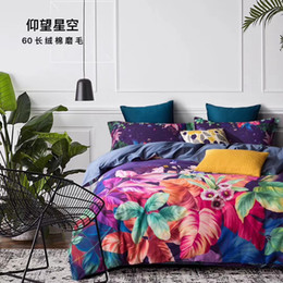 navy bedding sets Canada - long cotton designs 60*60 133*76 reactive print bed sheet bed linen four pieces bedding set ,flower strip cartoon designs red blue pink colo