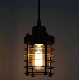 pendant lights restaurants NZ - Birdcage Pendant Light Chandelier Vintage Iron Pendant Lamp Restaurant Pendant Lights Edison bulbs Single head Hanging Lighting Fixture