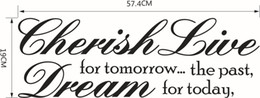 word stickers for walls NZ - Cherish the past Dream Tomorrow Live For Today Inspirational Quotes Wall Decal words sticker decor lettering wall art