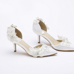 Kitten Heel Pointed Toe Bridal Shoes Women White Satin Pumps Butterfly Rhinestone  Wedding Party Shoes Mother of the Bride Shoes e2d7d3d0b1d7