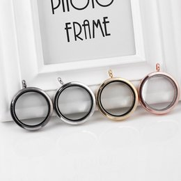 Frees 35mm Canada - 5pcs lot free shipping 35mm round good quality magnetic Zinc Alloy memory glass lockets(four colors available)