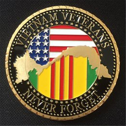 military coins NZ - 10pcs lot free shipping US. Military Vietnam Veterans 24K Gold Plated Challenge coin