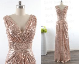 Barato Vestidos De Baile Para Atacado-Venda Por Atacado Cheap Sequined Bridesmaid Dresses V Neck Sexy Mermaid Maid of Honor Vestidos Gold Weddin Party Vestidos Plus Size Prom Dress