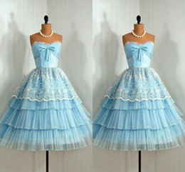 $enCountryForm.capitalKeyWord Australia - Vintage 1905's Cute Lace Party Cocktail Dress Light Sky Blue Sweetheart Ruffles Sheer Tulle Vesidos Knee length party Evening Gowns 2016