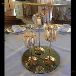 candle crystals NZ - Set of 3 Gold Sparkle Tapers crystal candle holder Metal Candle Stand Wedding centerpieces