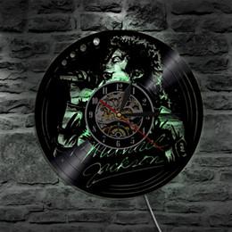 Michael Quartz Canada - Michael Jackson Sing Song Led Vinyl Clock Wall Light Color Change Vintage Decor LP Handmade Art Lamp Remote Controller