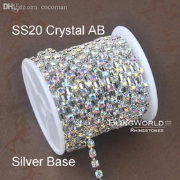 Robe De Strass Chine Pas Cher-Gros-10 Yards China Chain Bonne Qualité handmake SS20 Crystal AB Argent Sparse Coupe strass Pour Décoration Robe