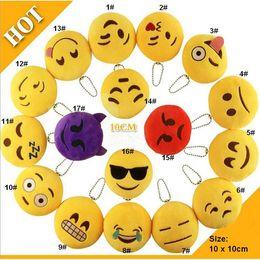 $enCountryForm.capitalKeyWord NZ - Key Chains 4 inch Emoji Smiley Small pendant Emotion Yellow QQ Expression Stuffed Plush doll toy Emoji Cell Straps Charms Bag Pendant 0079HW