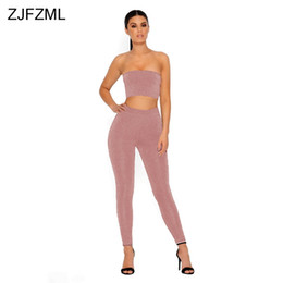 Mujeres De Los Hombros Baratos-Off The Shoulder Sexy Two Piece Chándal Mujeres sin tirantes Backless Crop Top 2017 Vintage High Elastic Full Length Pant