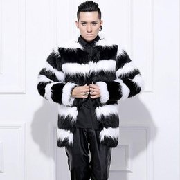 13e236065 Wholesale- Hot sell 2015 New arrival men winter faux fur coat Fashion Black  White stripe rabbit warm fur coats Plus Size Men Coat S-3XL