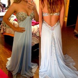 $enCountryForm.capitalKeyWord Canada - 2016 Latest Sexy Sweetheart Blue Prom Gowns Party Dresses with rhinestones Crystal Evening Dresses For Graduation vestido longo Chiffon