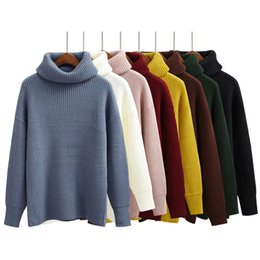 Discount sweater colors turtleneck - Wholesale-Korean Simple Basic Winter Knitted Sweaters Women Fashion Turtleneck Pullover Sweater Female Casual All-match