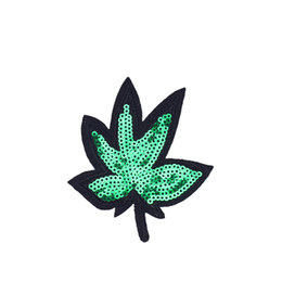 green leaf clothes Australia - 10PCS Green Leaves Sequined Patches for Clothing Iron on Transfer Applique Patch for Jeans Bags DIY Sew on Embroidery Sequins