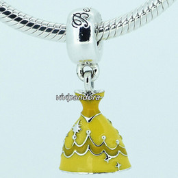 $enCountryForm.capitalKeyWord Canada - 925 Sterling Silver Belle Dress Dangle Charm Bead with Yellow Enamel Fit European Pandora Style Jewelry Bracelets & Necklace