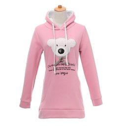 Mignonnes Robes Décontractées Pour L'hiver Pas Cher-Vente chaude Nouveau 2016 Hiver Femmes Hoodies avec capuche Ours mignon Imprimer Casual Sweat Bleu Rose long Hoodies Robe sudadera mujer