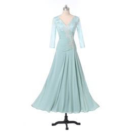 Barato Coluna Pescoço Alto Vestido-2015 New Blue Prom Dresses V-Neck Beaded Appliques Lace Chiffon High Waistline Column Party Vestidos Zipper Voltar Custom Made P171
