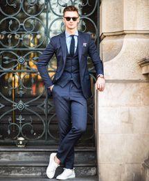 Discount burgundy men prom suit - Custom Made Men's Wedding New Fashion Groom Wear Formal Tuxedos Men Prom Suits (Jacket+Pants+Vest) 3 Pieces