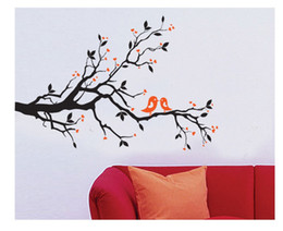 Removable Wall Art Branches Canada - 2 CUTE BIRDS ON THE TREE BRANCH Wall Art Wall Sticker Decal Room Art Decal kissing birds