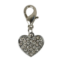 Chinese  20pcs lot HEART Tags Pet Pendant Collar Rhinestone Bling Charms with hooks for Dog Pet Decoration Accessories manufacturers