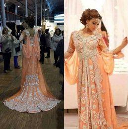 Wholesale chrismas shirt online – design Peach Dubai Arabic Fashion Kaftan Evening Dresses Long Sleeves Robe Caftan Silver Applique Beaded Shiny Backless Formal Evening Gowns