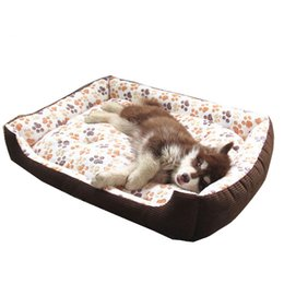 white small dog beds Canada - 3 Colors Winter Warm Cotton Panded Waterproof Dog Bed House Mat Cozy Soft Sofa Kennel For Small Medium Large Puppy Dogs Cats S-XXL