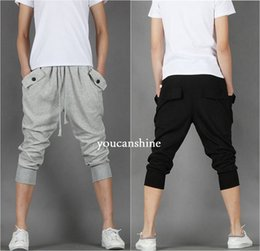 Pantalon De Harem Empoché Pas Cher-Vente en gros-New Mode Hommes Fleece Casual Capri Jogger Sports Baggy Harem Loose Plus Taille Pantalons Coupe Hip Hop Rope Pockets
